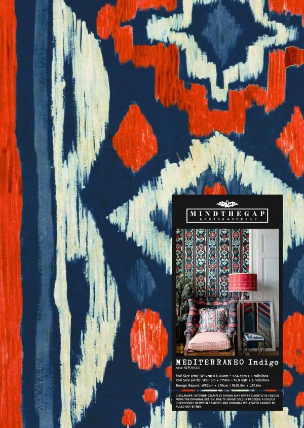 MEDITERRANEO Indigo Wallpaper Sample