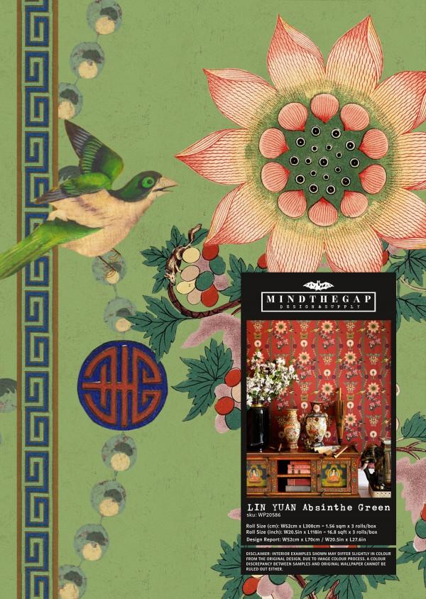 LIN YUAN Absinthe Green Wallpaper Sample