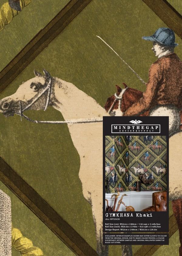 GYMKHANA Khaki Wallpaper Sample