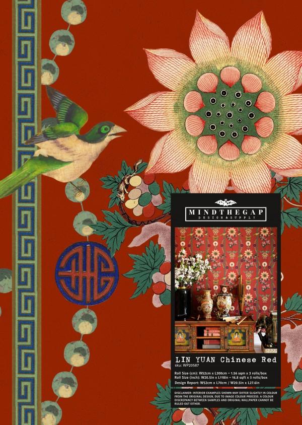 LIN YUAN Chinese Red Wallpaper Sample