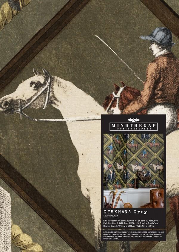 GYMKHANA Grey Wallpaper Sample
