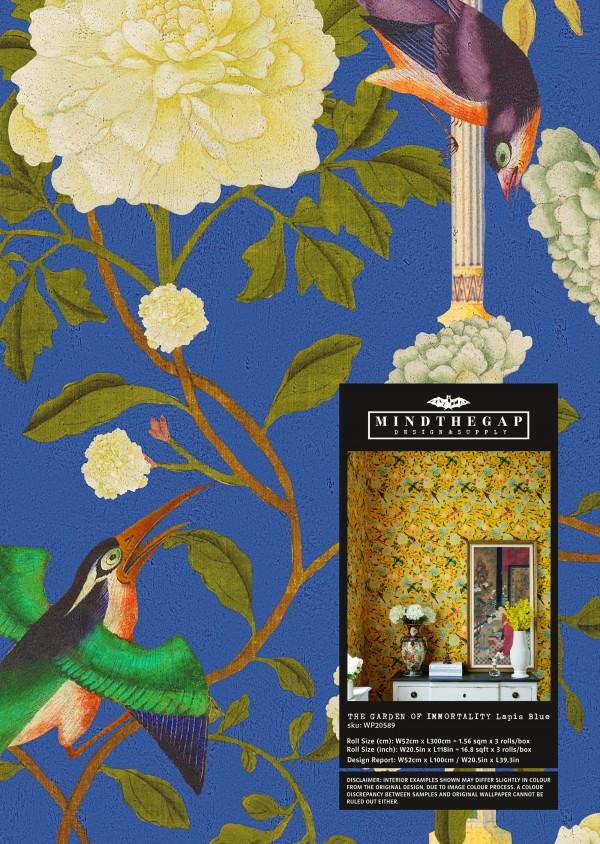 THE GARDEN OF IMMORTALITY Lapis Blue Wallpaper Sample