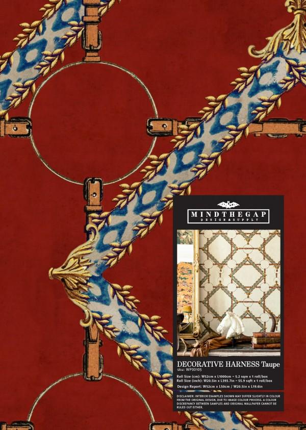 DECORATIVE HARNESS Burgundy Wallpaper Sample