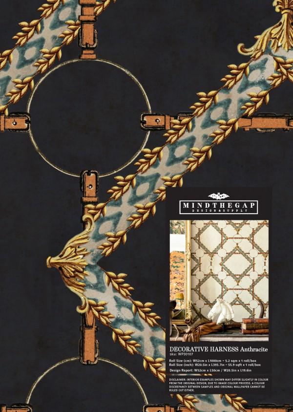DECORATIVE HARNESS Anthracite Wallpaper Sample
