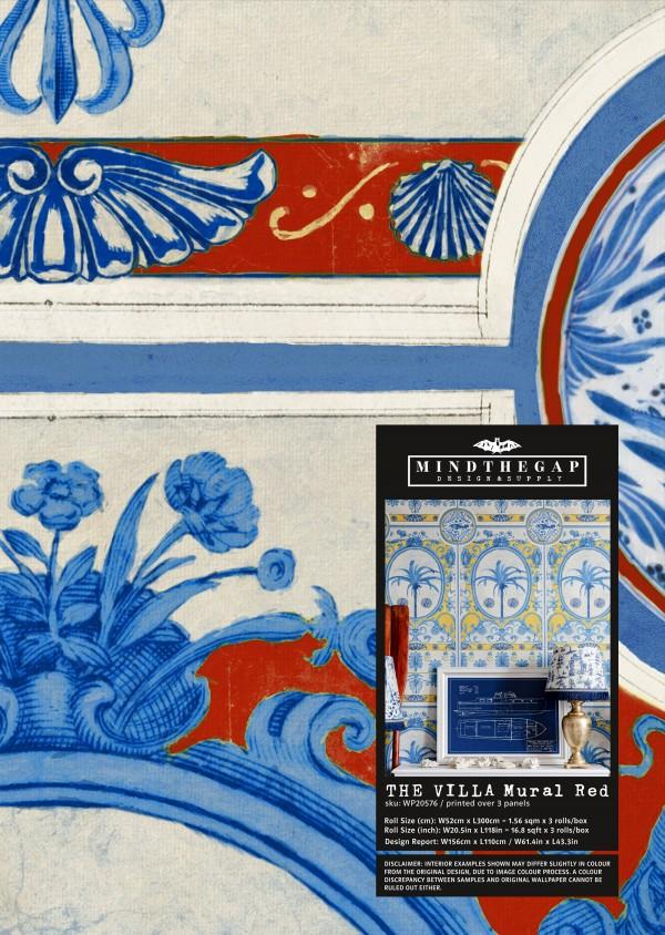 THE VILLA Mural Red Wallpaper Sample