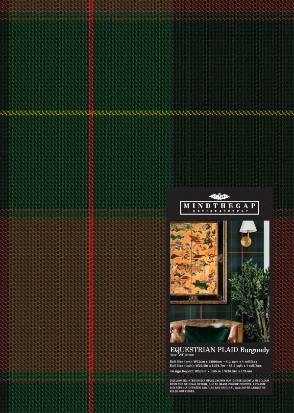 EQUESTRIAN PLAID Burgundy Wallpaper Sample
