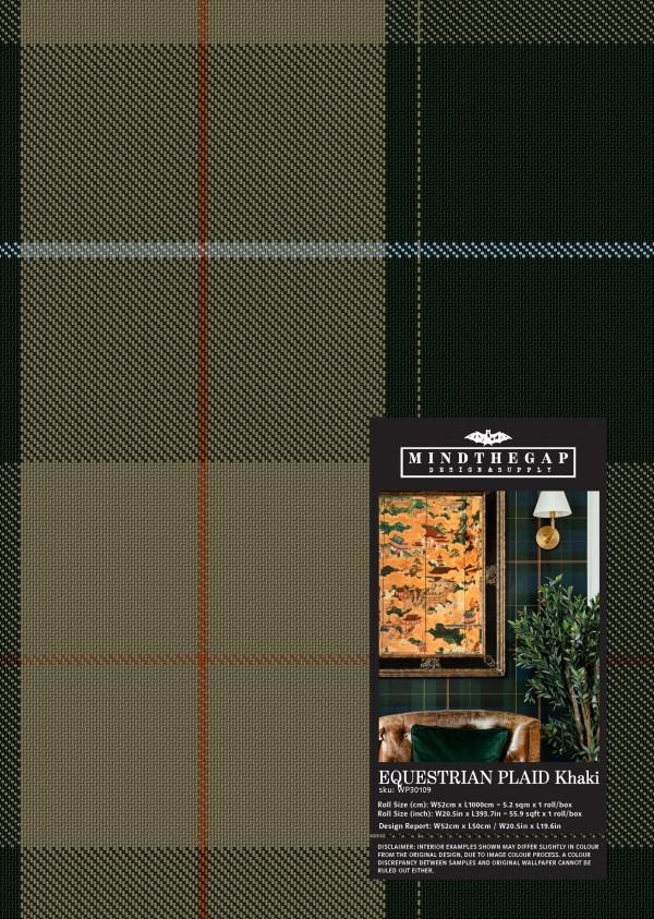 EQUESTRIAN PLAID Khaki Wallpaper Sample