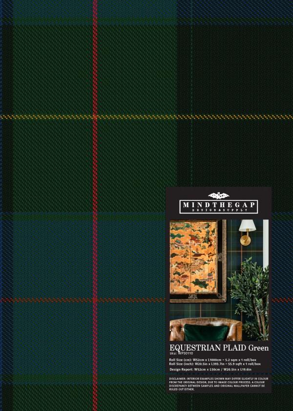 EQUESTRIAN PLAID Green Wallpaper Sample