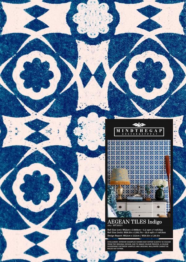 AEGEAN TILES Indigo Wallpaper Sample
