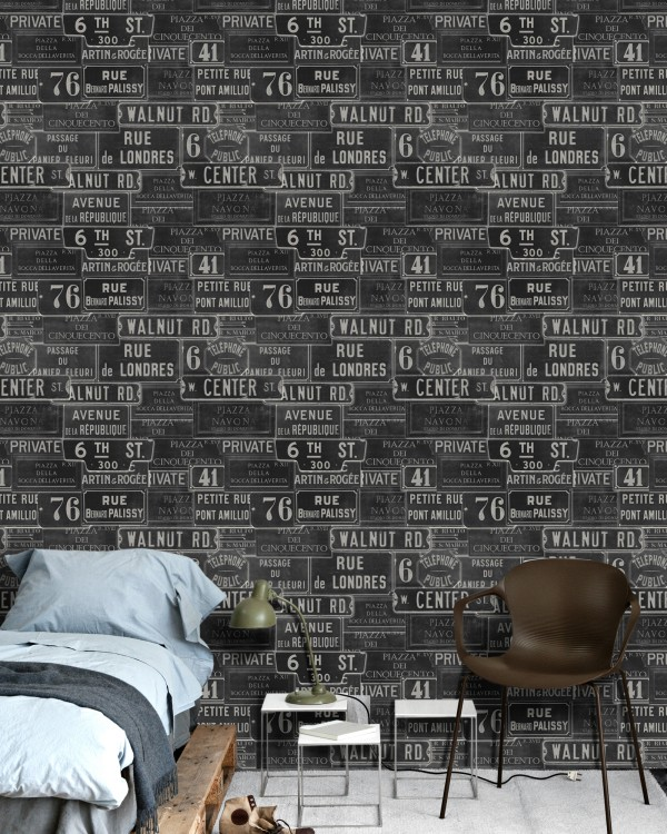 VINTAGE SIGNS Anthracite Premium Wallpaper