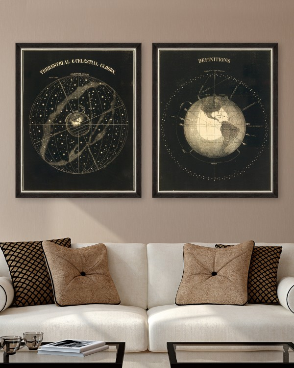 TERRESTRIAL AND CELESTIAL GLOBES Set of 2 Framed art
