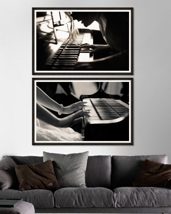 THE PIANO PLAYER Set of 2 Framed art