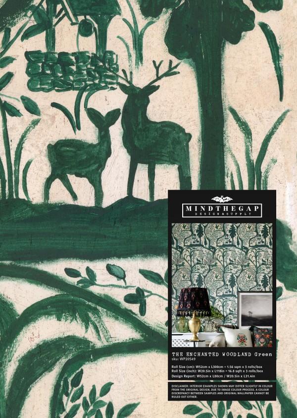THE ENCHANTED WOODLAND Green Wallpaper Sample