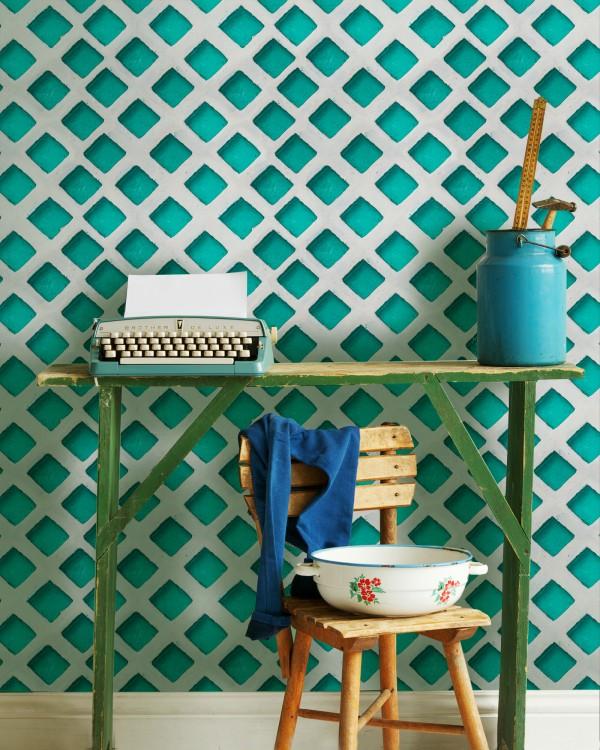 CONCRETE PATCH Turquoise Premium Wallpaper