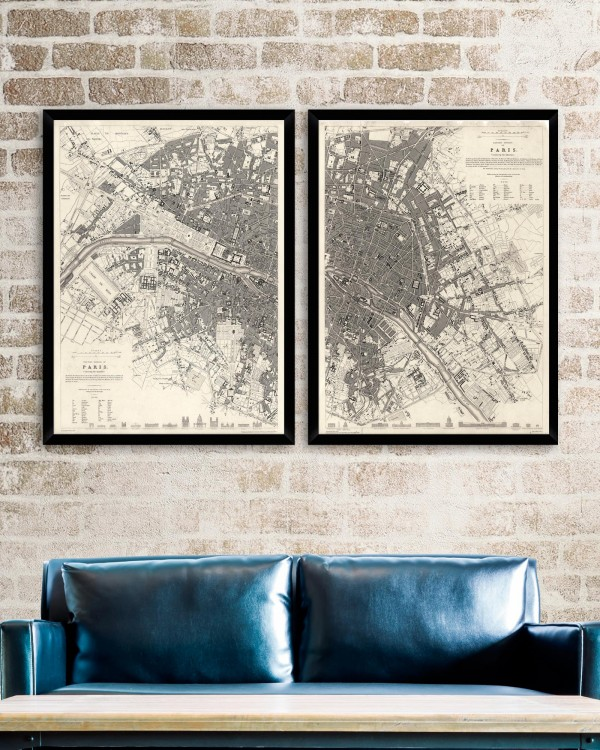 VINTAGE PARIS MAPS Set of 2 Framed art