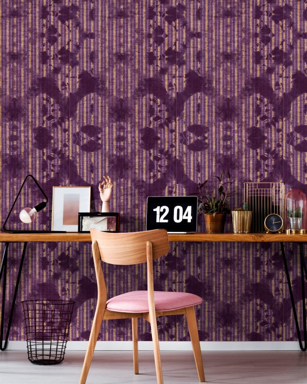 WASHED SHIBORI Burgund Wallpaper