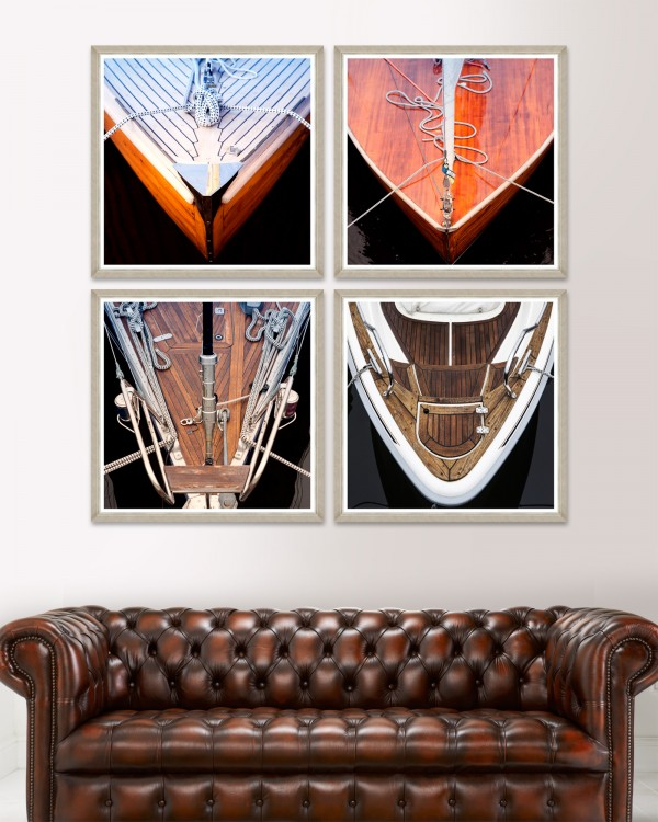 WOOD BOAT FRONTS Set of 4 Framed art