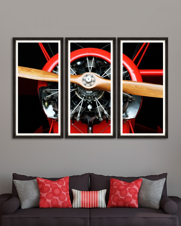 WOOD PROPELLER Triptych Framed art