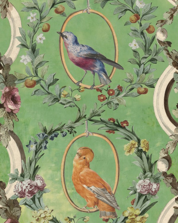 COUNTESSE'S AVIARIUM Mint Wallpaper