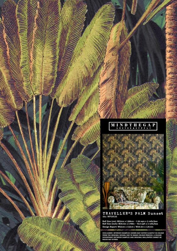TRAVELLER'S PALM Sunset - Wallpaper Sample