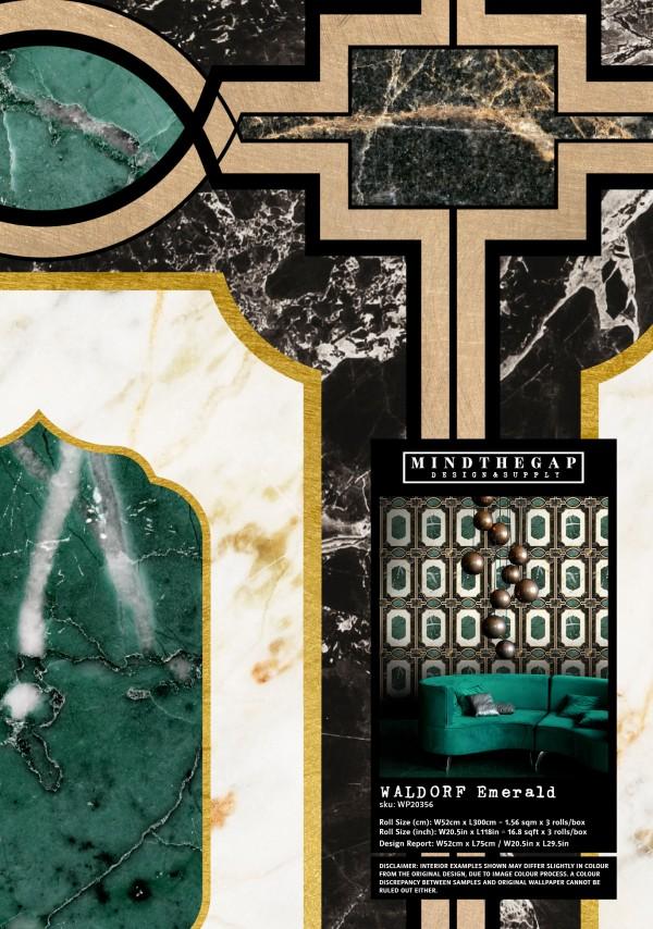 WALDORF Emerald Wallpaper Sample
