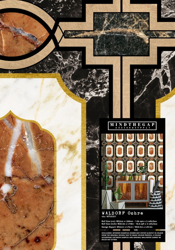 WALDORF Ochre Wallpaper Sample