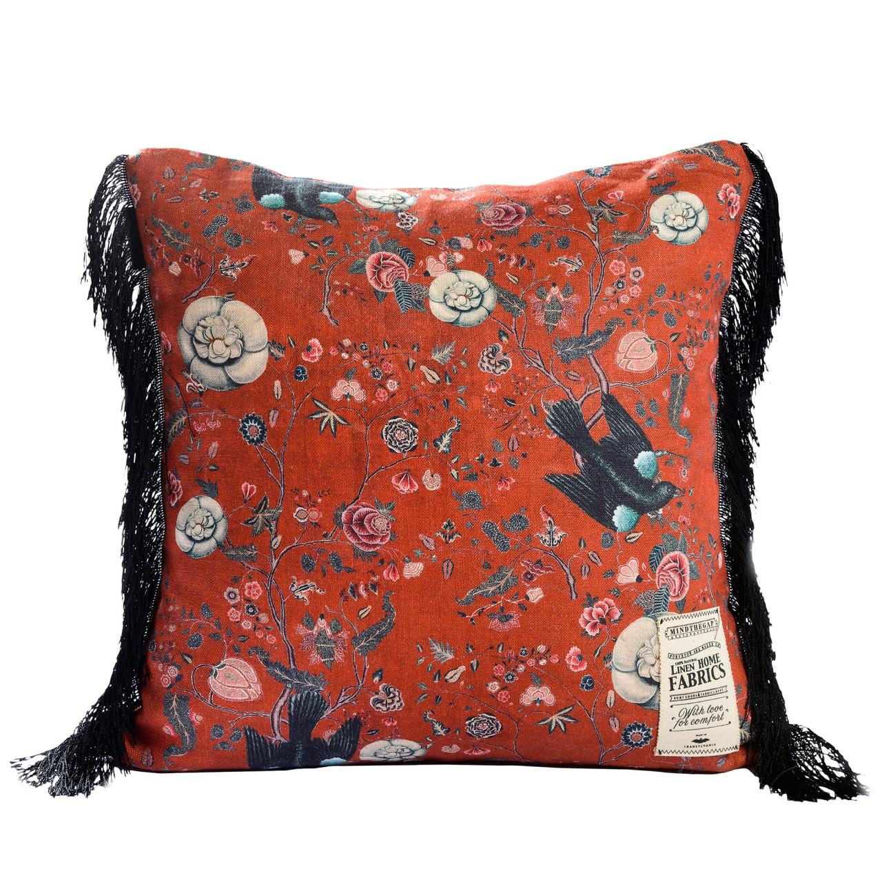 BLACK BIRD Linen Cushion