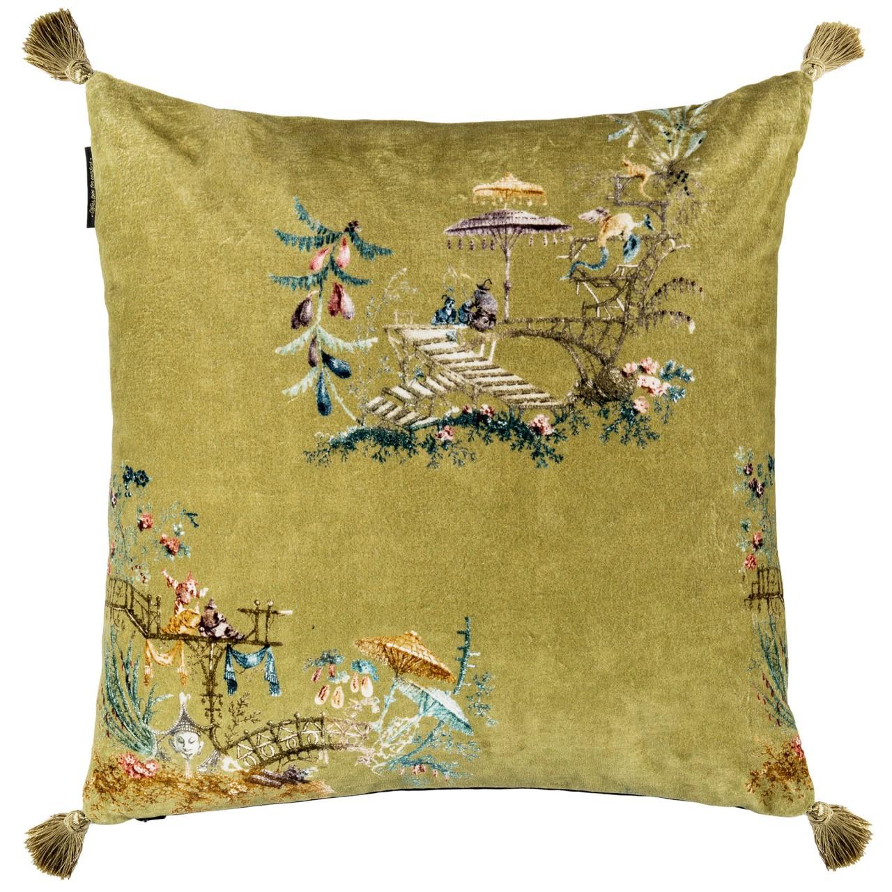 BIRDS OF THE GARDEN Velvet Embroidered Cushion