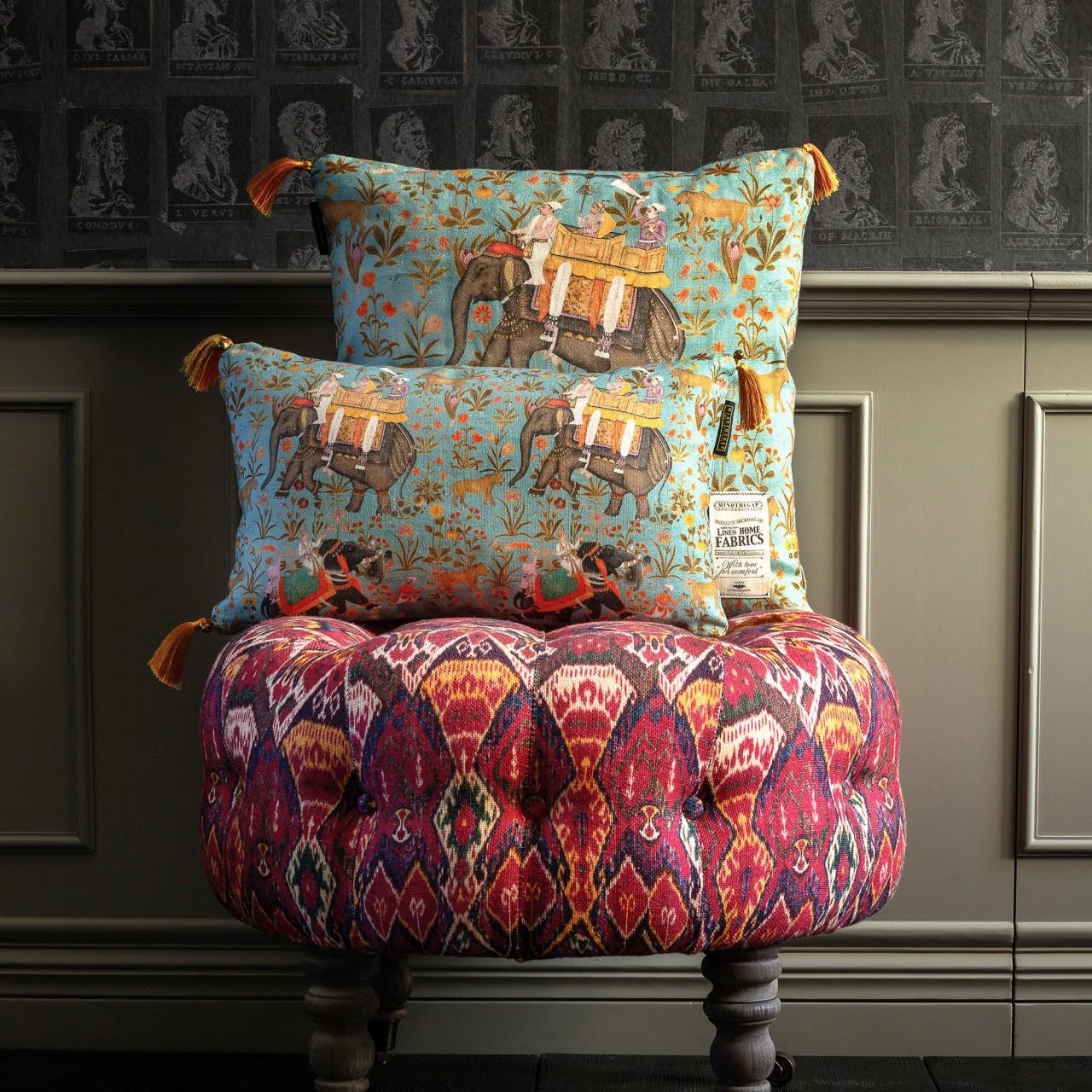 HINDUSTAN Aquamarine Linen Cushion