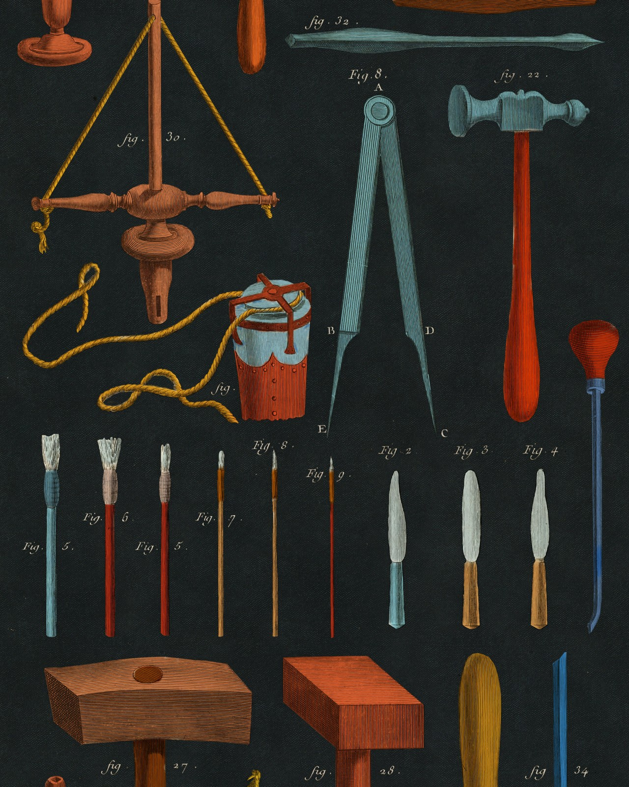 OLD TOOLS Anthracite Wallpaper