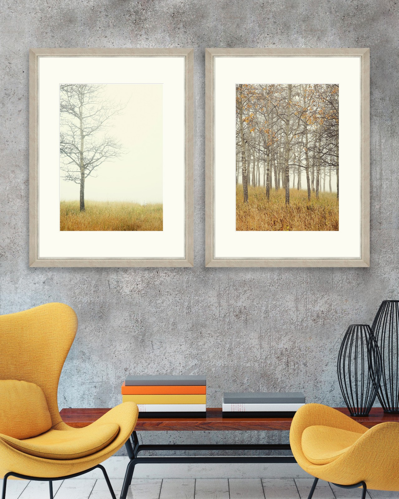 AUTUMN FOREST Set of 2 Framed art