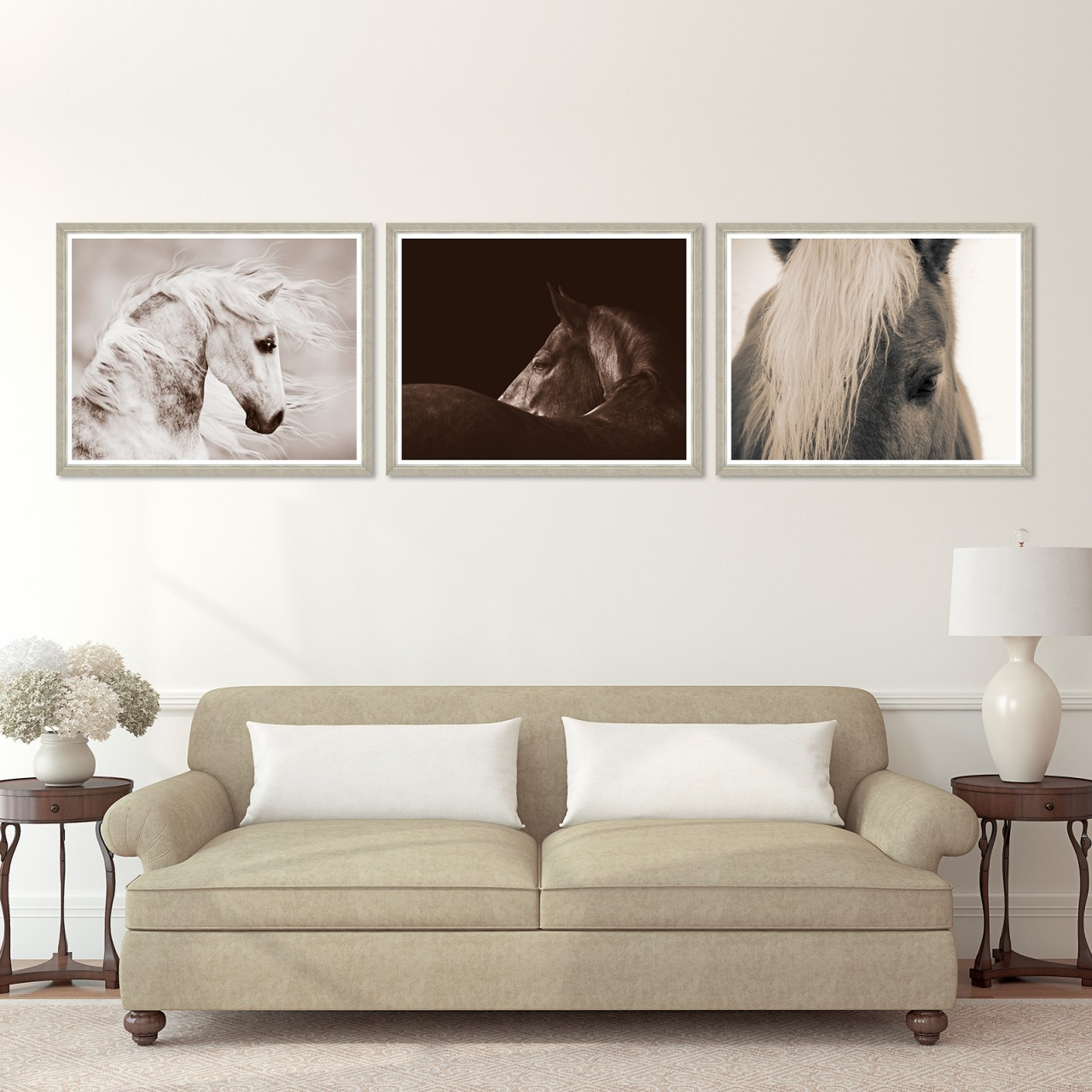 ARABIAN HORSE PORTRAIT Set of 3 Framed art
