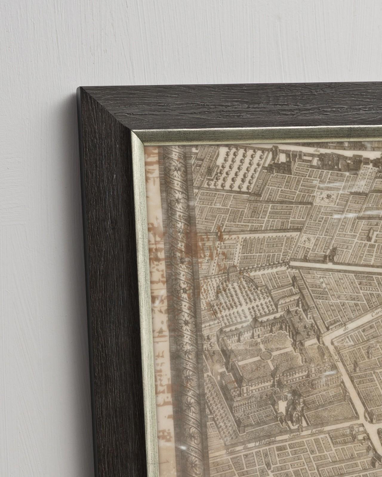 CARTE TOPOGRAPHIQUE DE PARIS 1735 Set of 4 Framed art