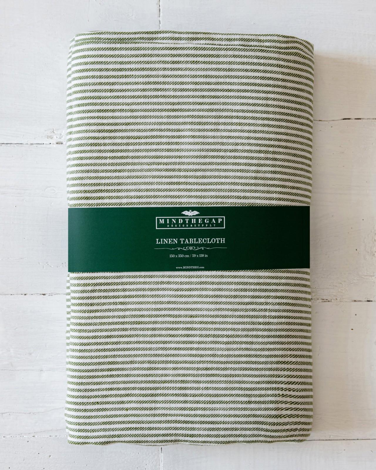 TWILL STRIPE GREEN Tablecloth