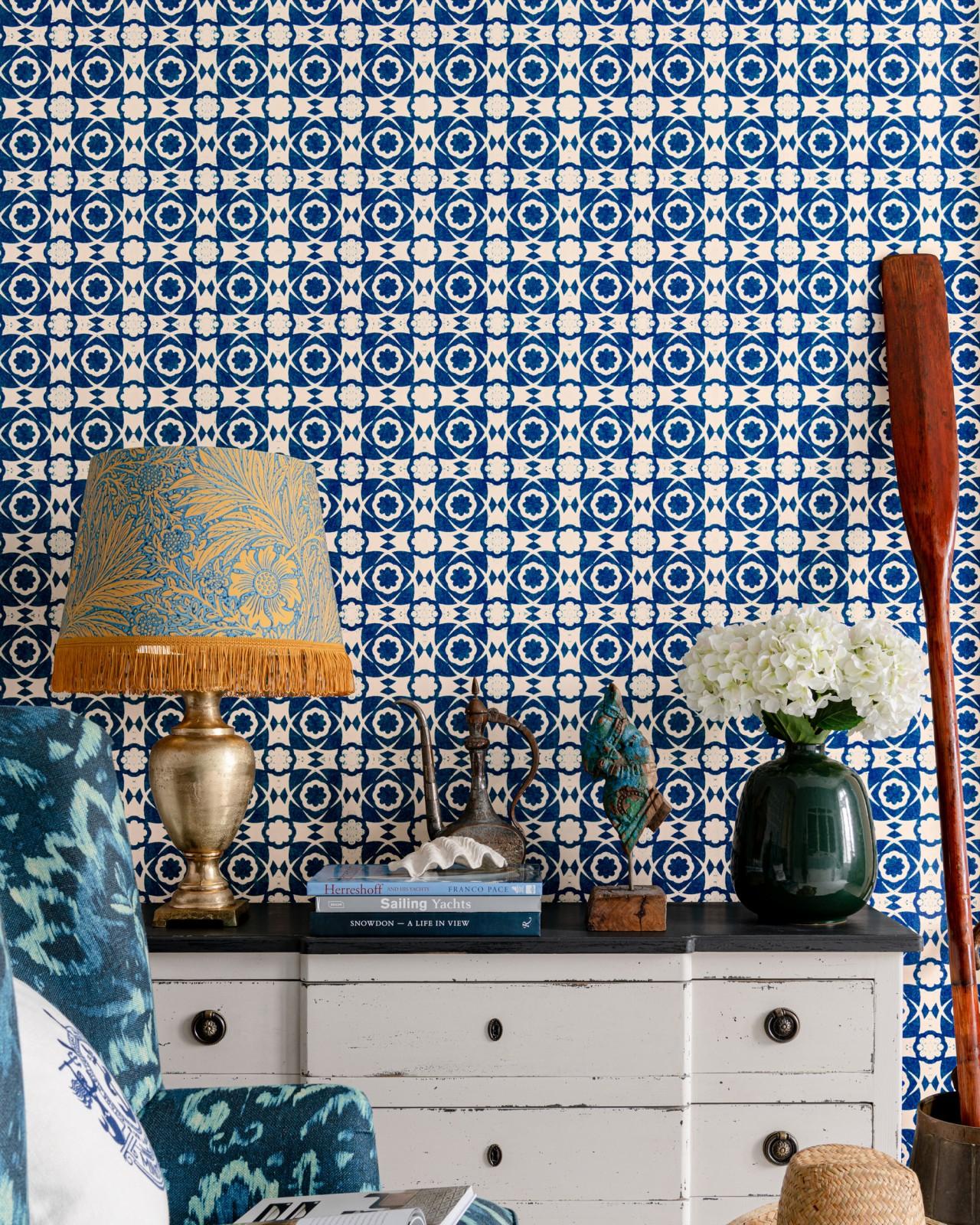 AEGEAN TILES Indigo Wallpaper