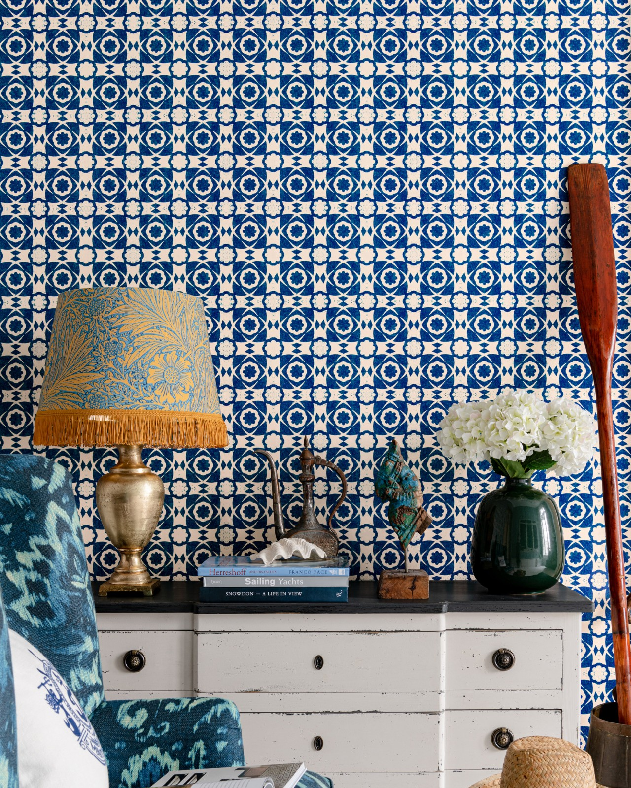 AEGEAN TILES Ultramarine Green Wallpaper