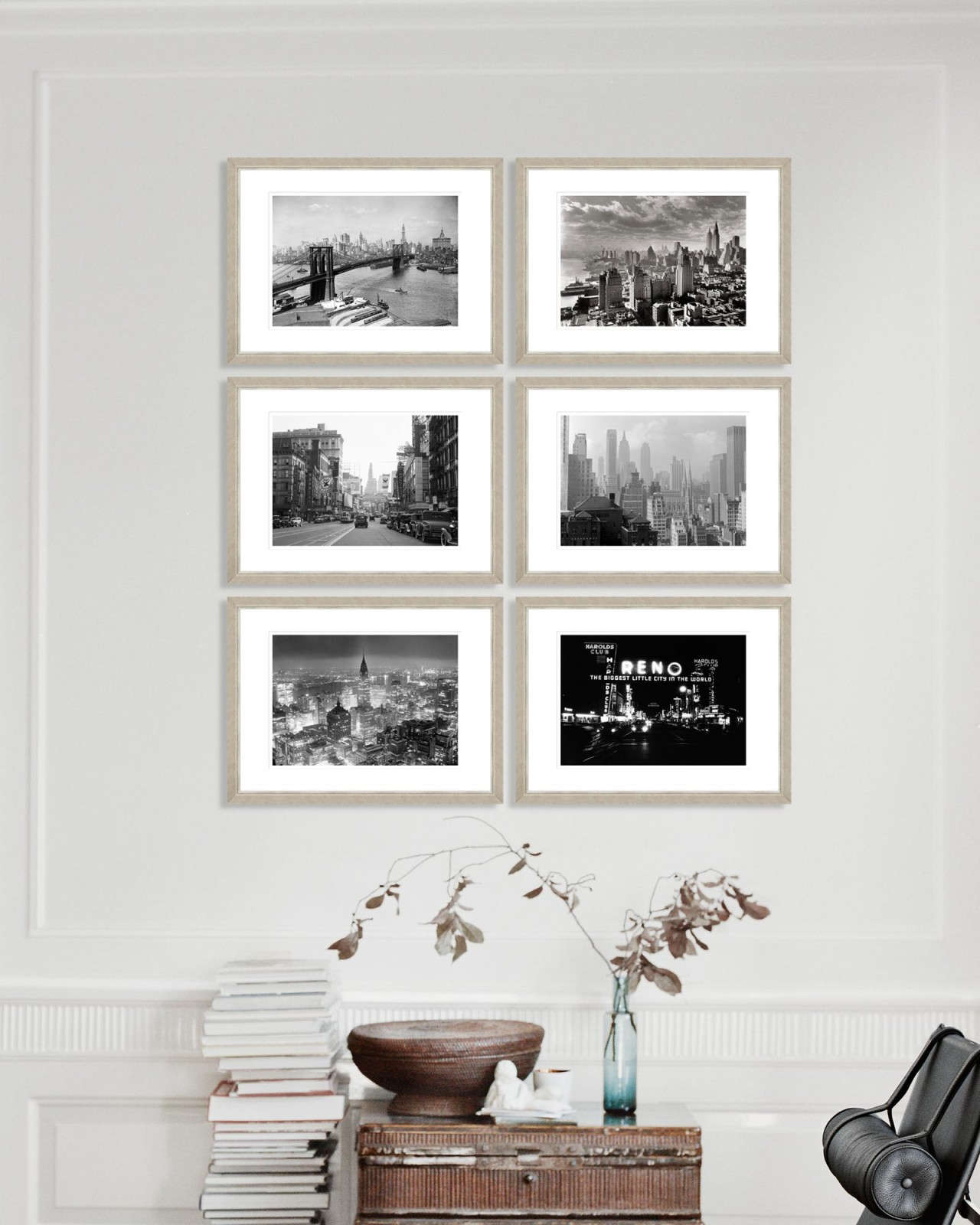 AMERICAN CITYSCAPES Set of 6 Framed art