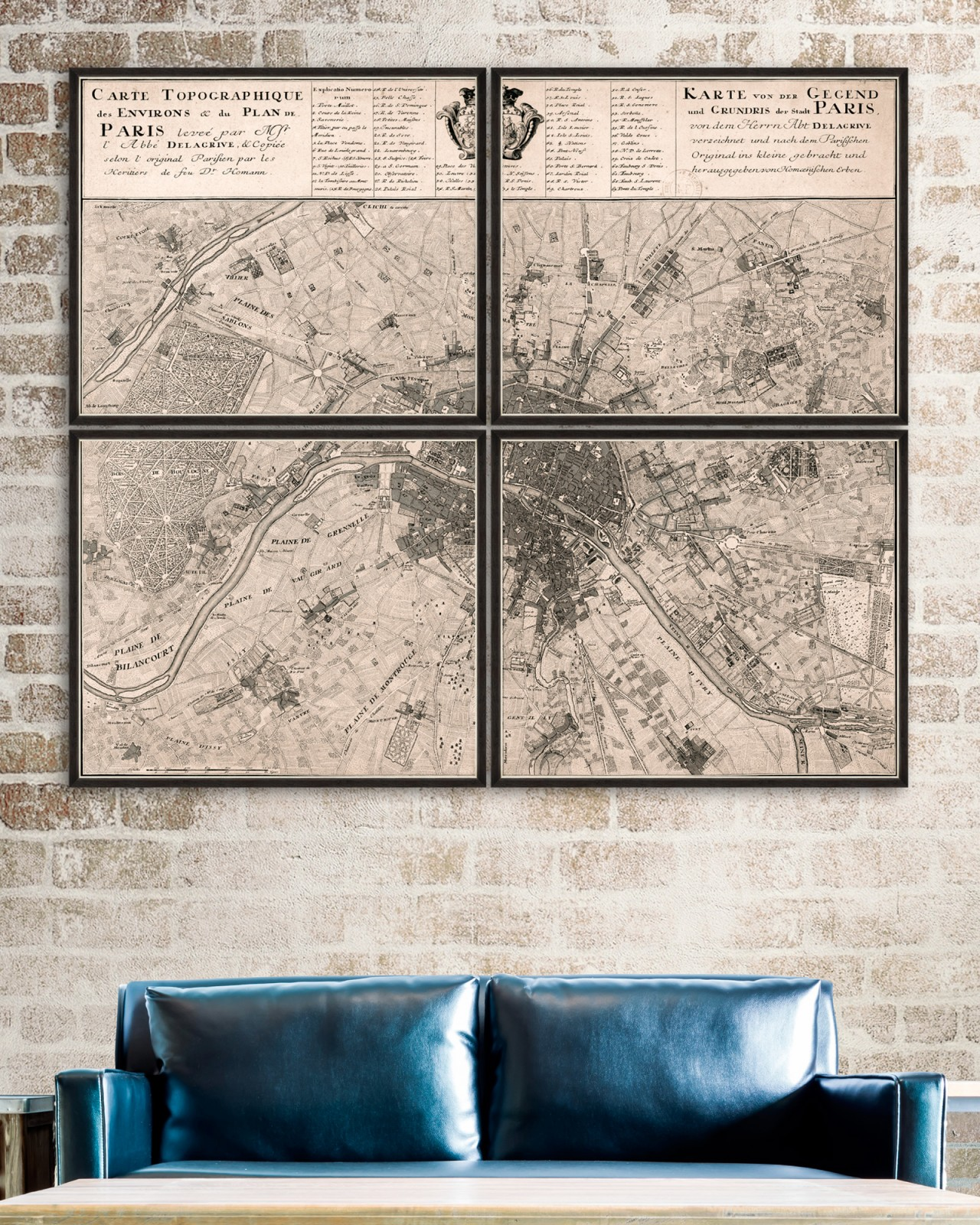 CARTE TOPOGRAPHIQUE DE PARIS 1735 Set of 4 Framed art