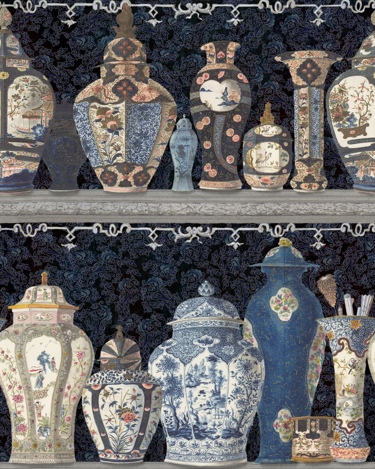 CERAMIC WONDERS Indigo Wallpaper