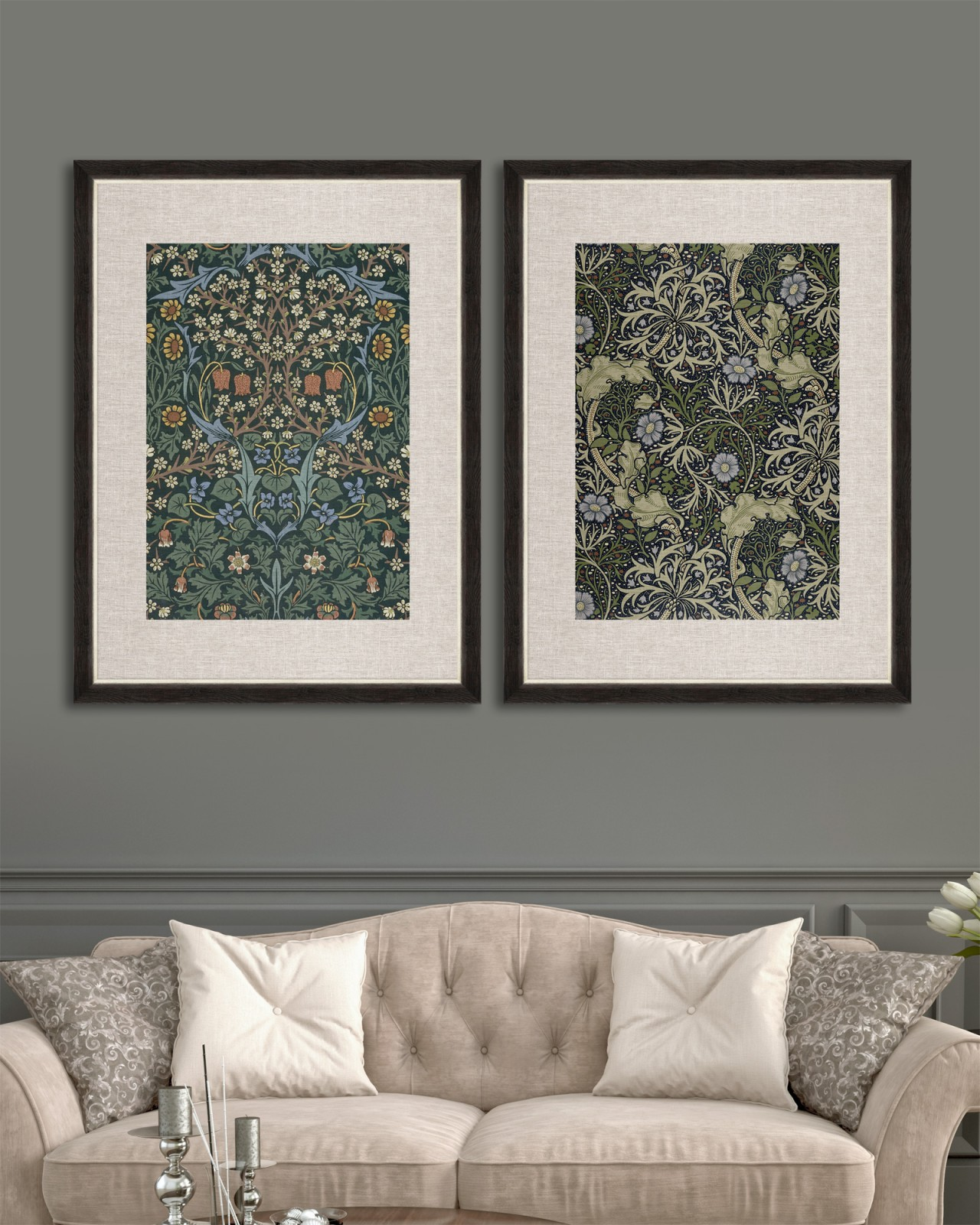 CHINESE FLORAL Set of 2 Framed art