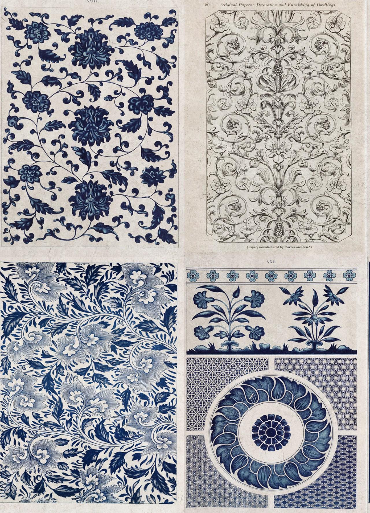 CHINESE PATTERN Blue Premium Wallpaper