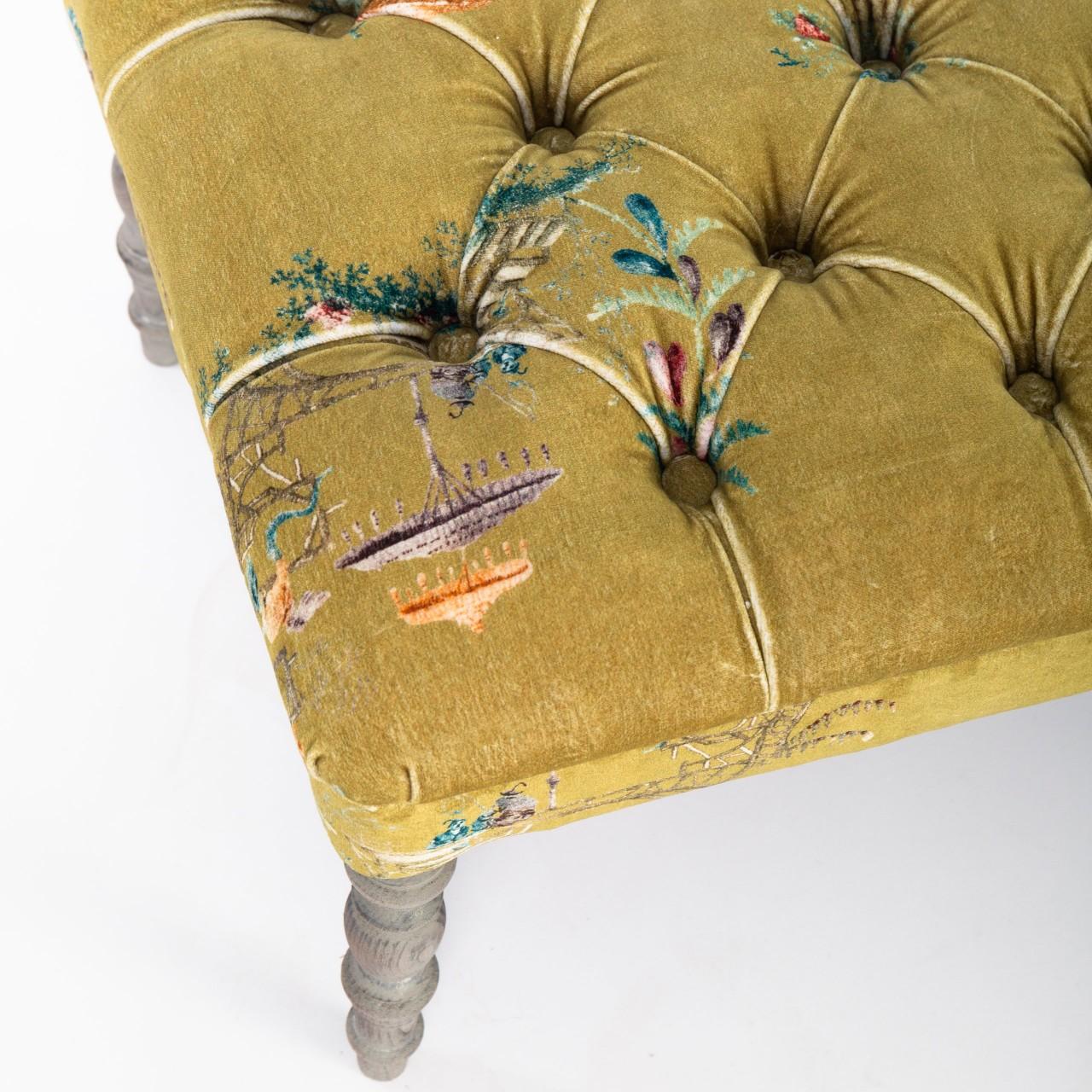 Edward Ottoman Tufted Bench Chinoiserie Velvet