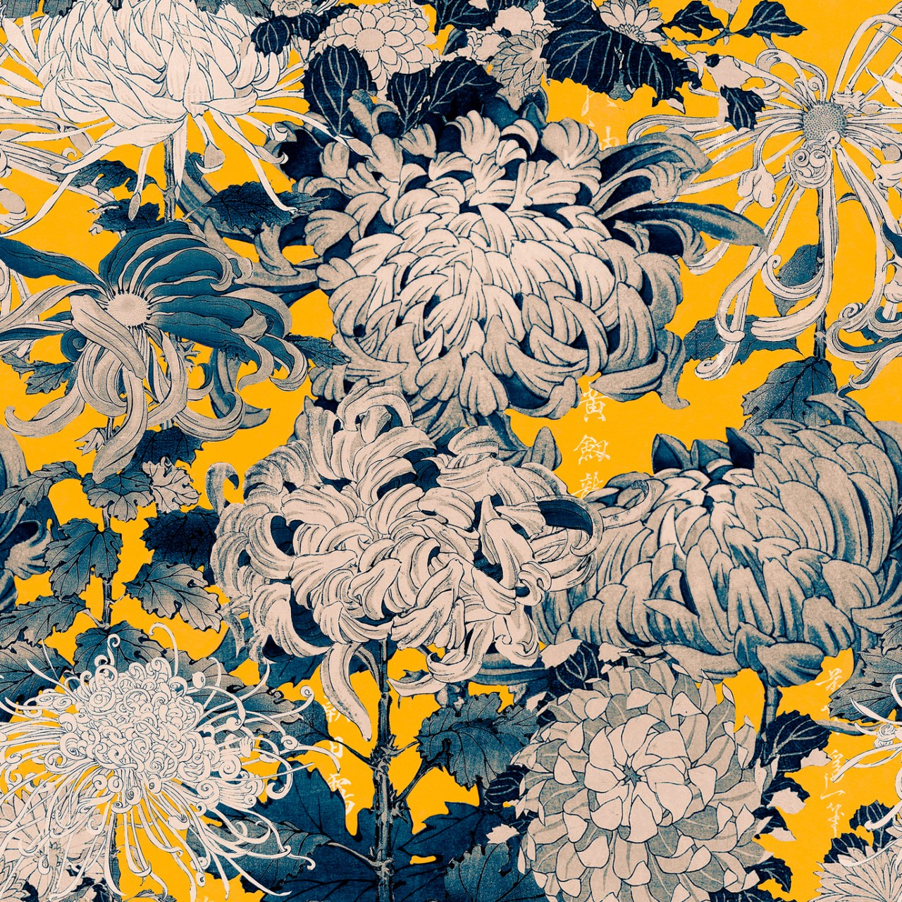CHRYSANTHEMUMS Yellow Wallpaper