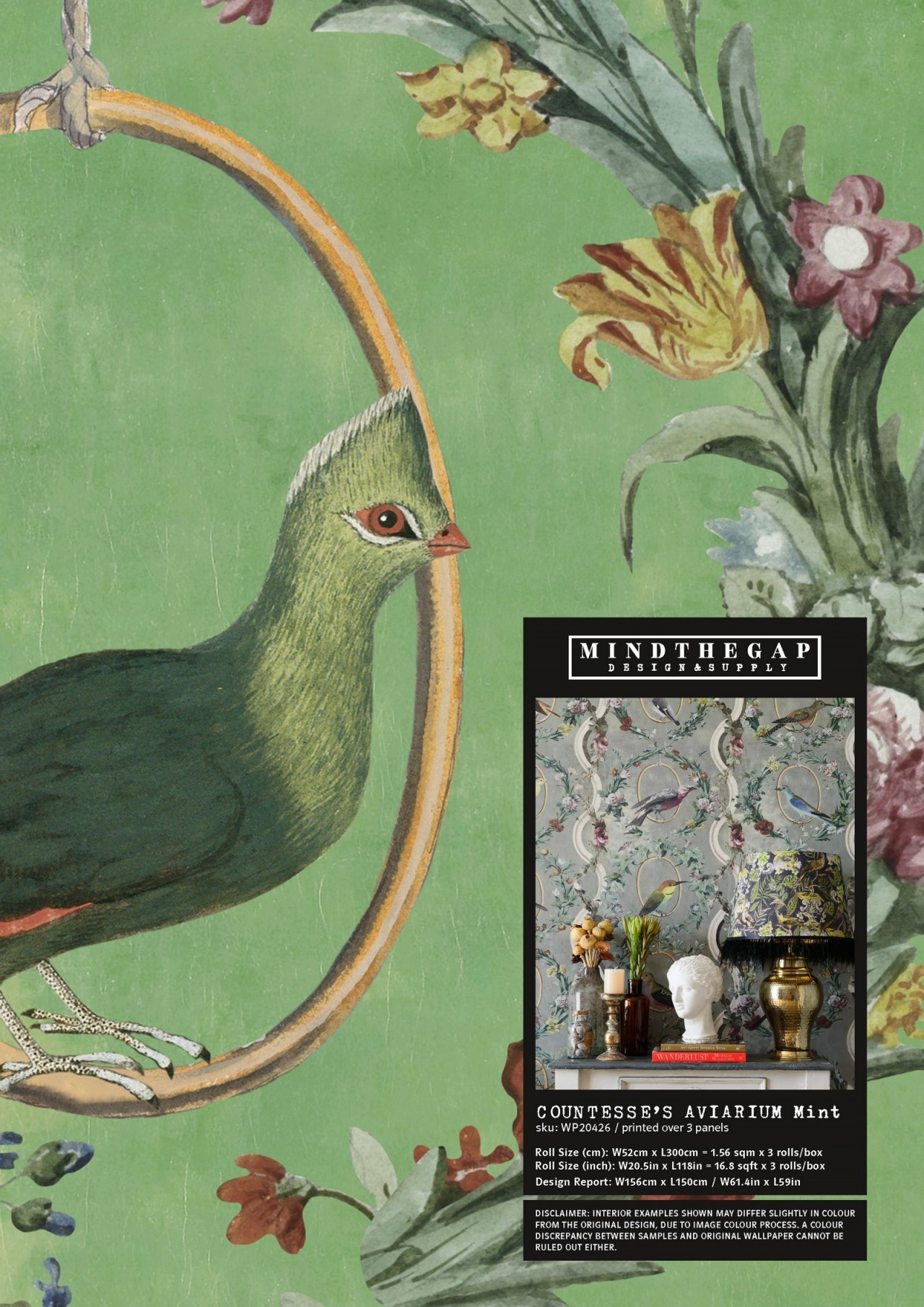 COUNTESSE'S AVIARIUM Mint Wallpaper Sample