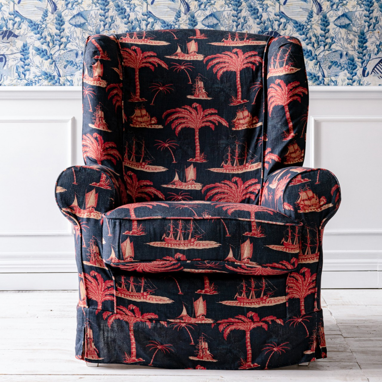 DAKOTA SKIRTED CHAIR - AEGEAN Indigo Fabric