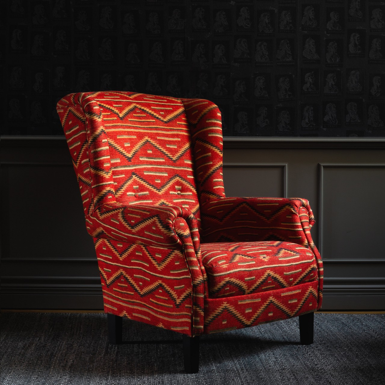 BRYANT Wing Chair - EYEDAZZLER NAVAJO Linen