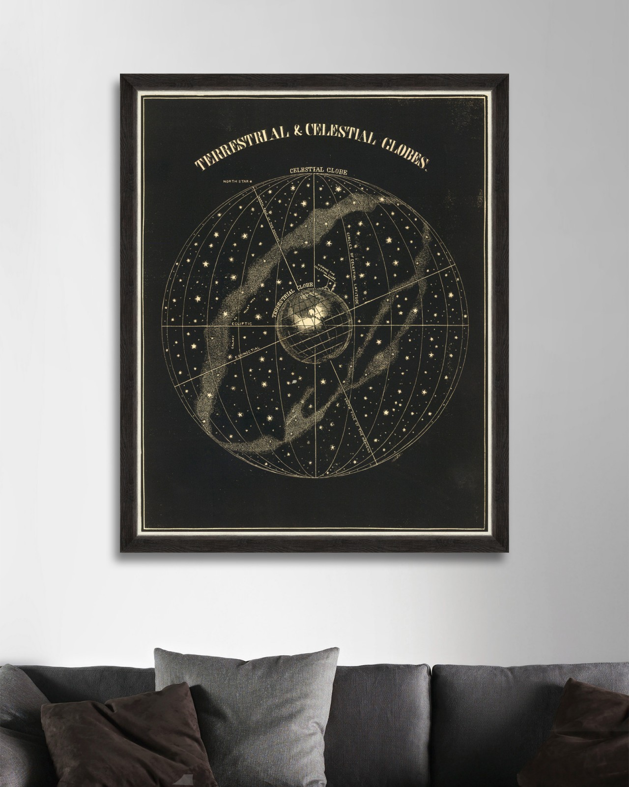 TERRESTRIAL AND CELESTIAL GLOBE Framed Art