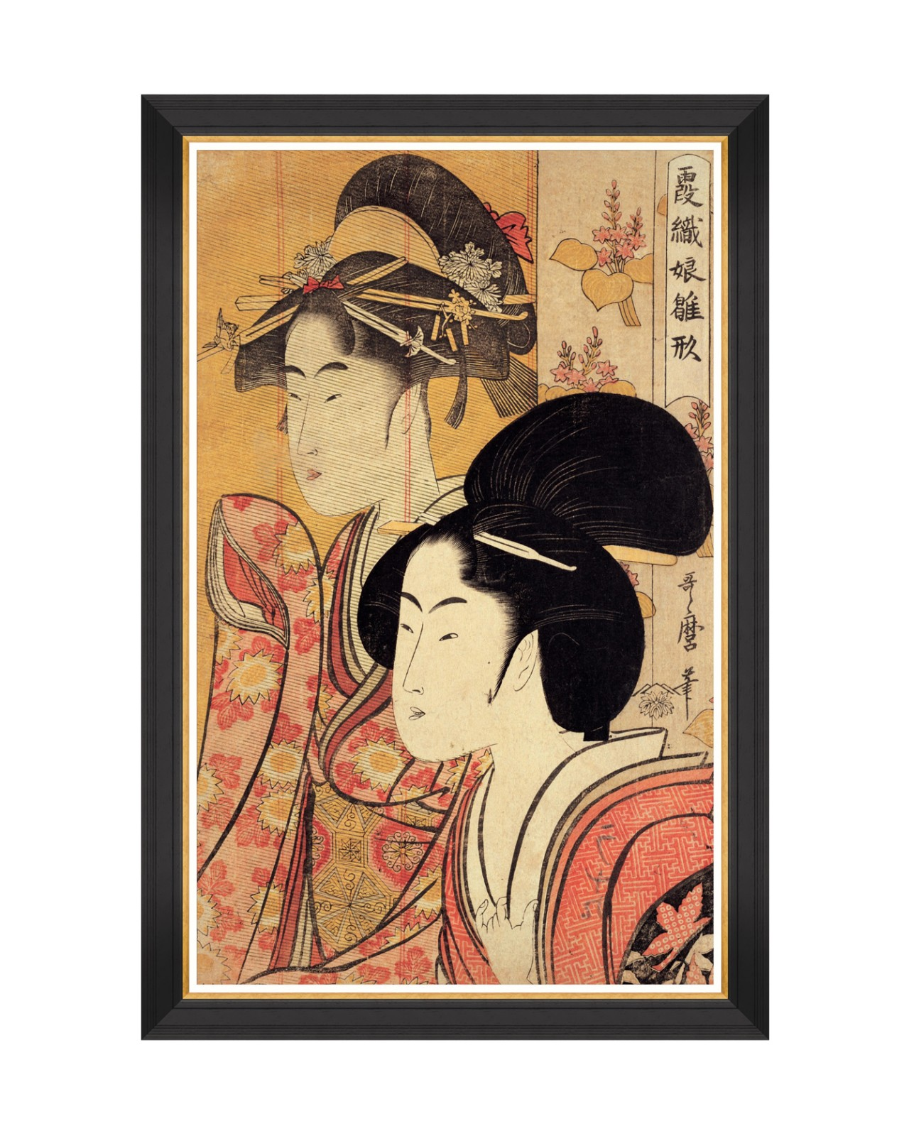 TWO BEAUTIES BY KITAGAWA UTAMARO Framed Art