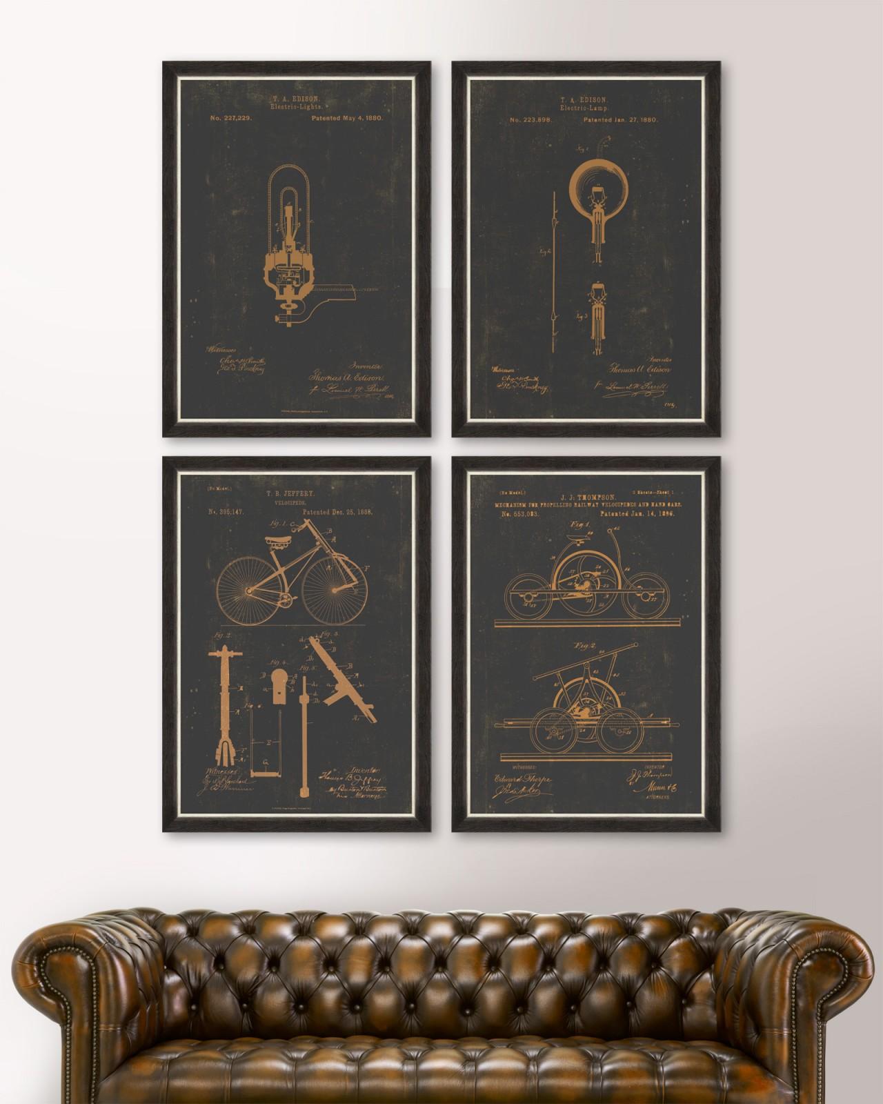 FAMOUS PATENTS Set of 4 Framed art