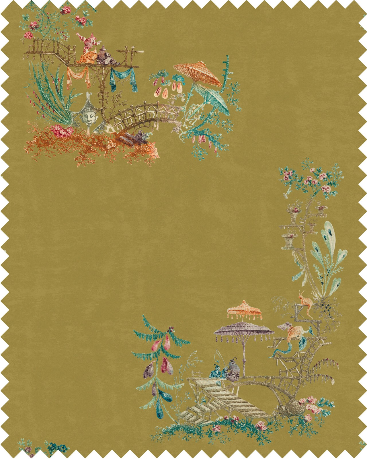 CHINOISERIE Velvet Fabric Sample